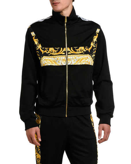 Image 1 of 3: Versace Men's Baroque-Inset Zip-Front Sweater