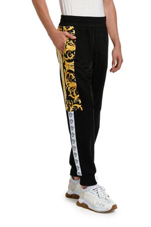 Versace Men's Baroque-Inset Sweatpants