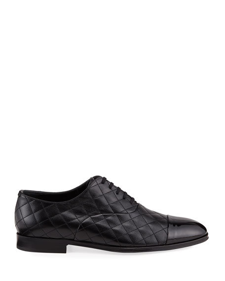 Image 2 of 3: Burberry Men's Quilted Leather Oxford Shoes