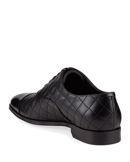 Image 3 of 3: Burberry Men's Quilted Leather Oxford Shoes