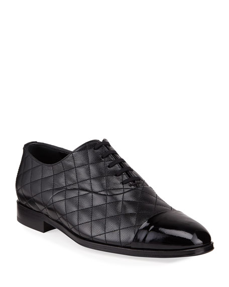 Image 1 of 3: Burberry Men's Quilted Leather Oxford Shoes
