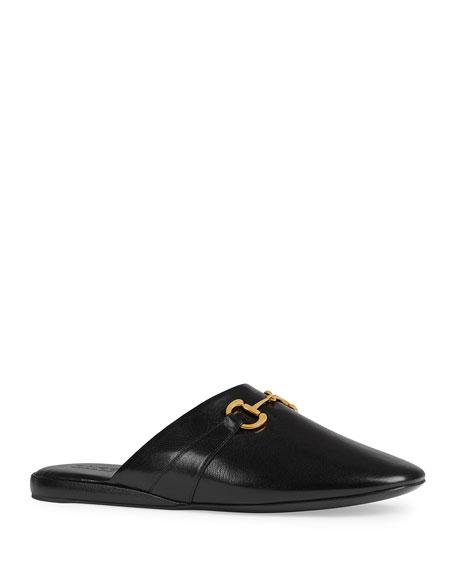 Gucci Mules Men's Pericle Leather Horsebit Mule Slippers