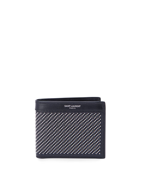 Saint Laurent Men's Micro-Stud Leather Wallet