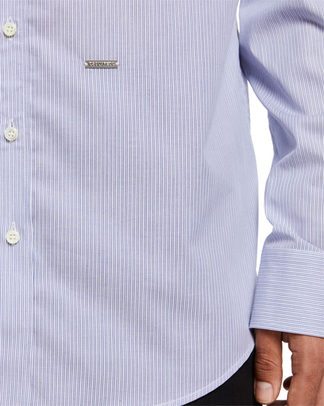 Image 3 of 3: Dsquared2 Men's Pinstripe Cotton Sport Shirt