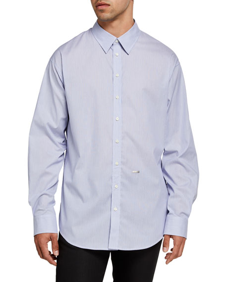 Image 1 of 3: Dsquared2 Men's Pinstripe Cotton Sport Shirt