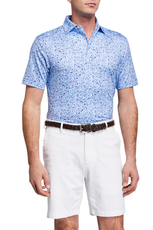 Peter Millar Men's Sean Printed Beach Stretch Jersey Polo Shirt