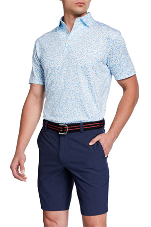 Peter Millar Men's Pointer Micro Polka-Dot Short-Sleeve Polo Shirt