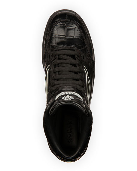 Bally Men's King Croc-Embossed Leather High-Top Sneakers