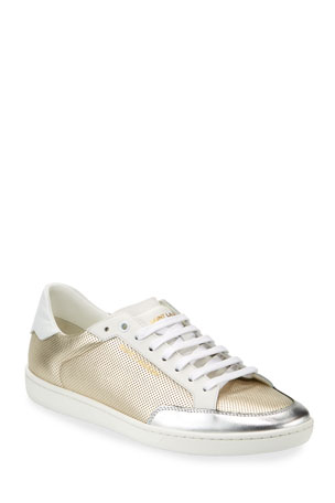 Saint Laurent Men's Perforated Metallic Leather Low-Top Sneakers