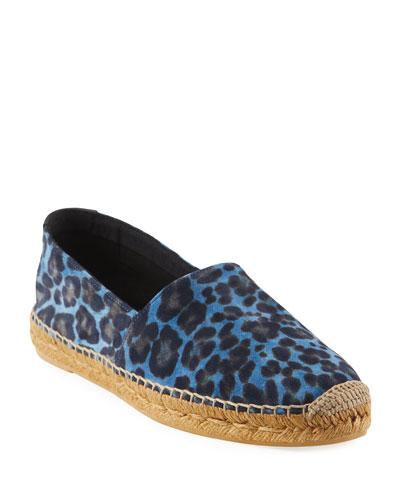 Men's Leopard Suede Slip-On Espadrilles