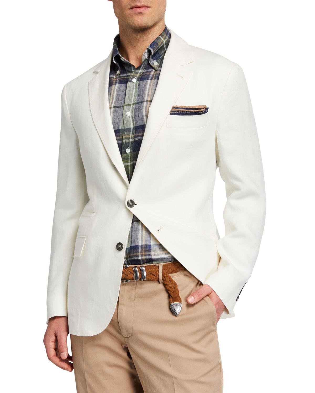 Brunello Cucinelli Solid White Linen Sport Jacket