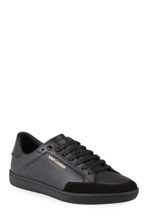 Saint Laurent Men's Court Classic Perforated Leather Sneakers