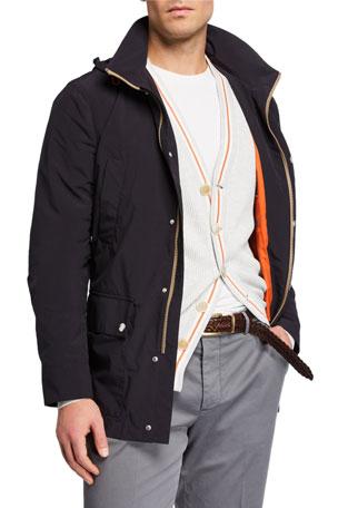Brunello Cucinelli Men's Mid-Length Zip-Front Jacket