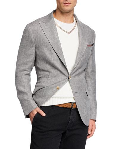 Men's Peak-Lapel Linen-Blend Hopsack Sport Jacket
