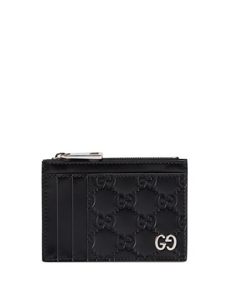 Gucci Cases Men's GG Embossed Zip Card Case