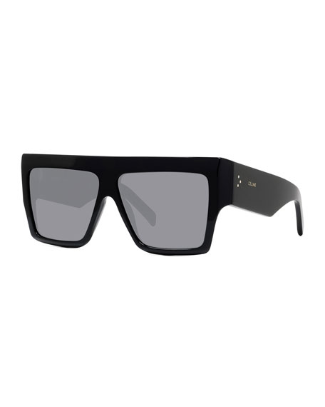 Celine Men's Chunky Rectangle Solid Acetate Sunglasses