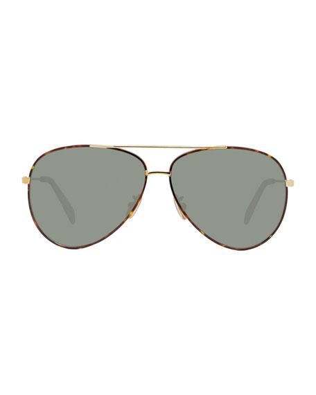 Celine Men's Metal Havana Aviator Sunglasses