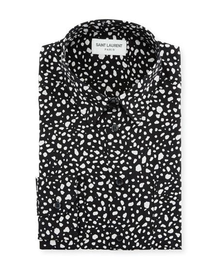 Saint Laurent Silks MEN'S DOTTED SILK DRESS SHIRT