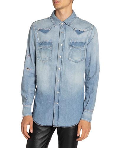 Men's Destroyed Denim Western Shirt