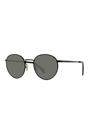Celine Men's Round Metal Smoke Sunglasses