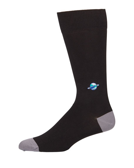 Paul Smith Knits Men's Embroidered Planet Knit Socks