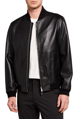 Theory Men's Brenton Rhodes Lamb Leather Bomber Jacket