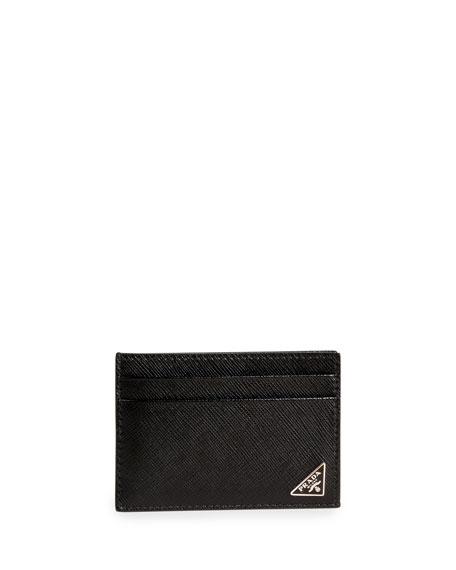 Prada Cases Men's Saffiano Leather Card Case with Money Clip