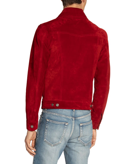 Image 2 of 3: Saint Laurent Men's Suede Trucker Jacket