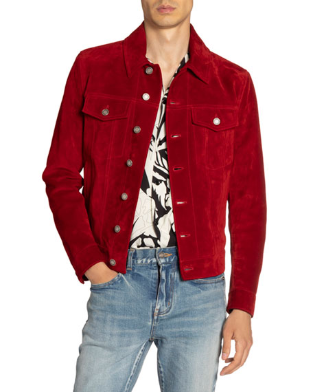 Image 3 of 3: Saint Laurent Men's Suede Trucker Jacket