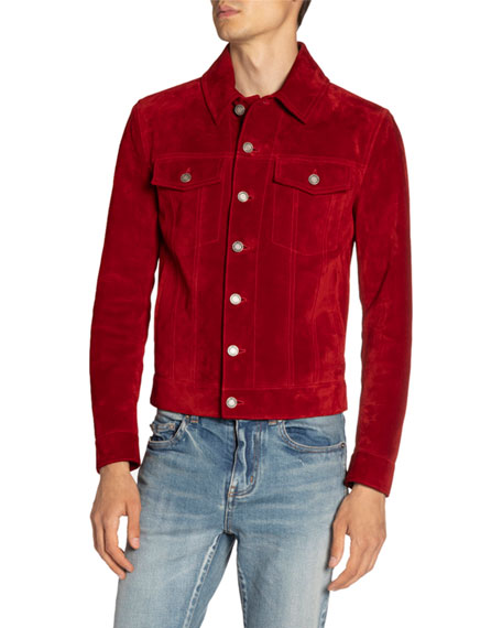 Image 1 of 3: Saint Laurent Men's Suede Trucker Jacket
