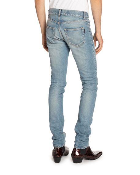 Image 2 of 2: Saint Laurent Men's Low-Rise Skinny Stretch Jeans