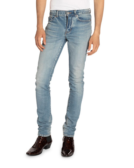 Image 1 of 2: Saint Laurent Men's Low-Rise Skinny Stretch Jeans