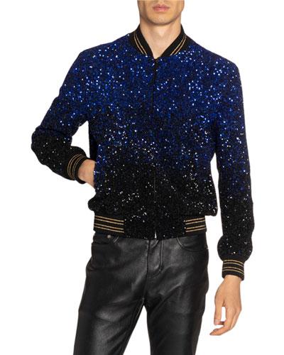 Men's Teddy Gradient Sequined Jacket