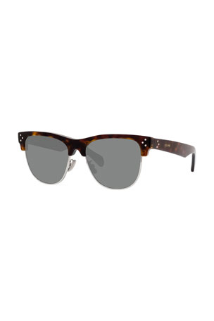 Celine Men's Studded Havana Half-Rim Sunglasses