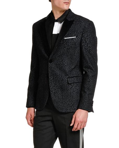 Neil Barrett Men's Leopard-Flocked Denim Evening Jacket