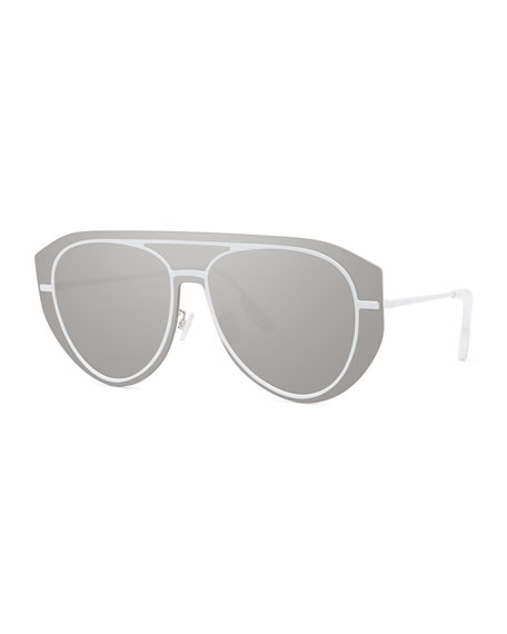 Kenzo Men's Pilot Metal Aviator Shield Sunglasses - Mirror Lens