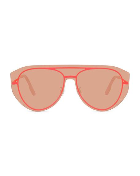 Kenzo Men's Pilot Fluo Metal Aviator Shield Sunglasses