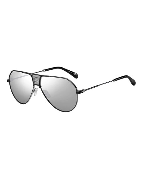 Givenchy Men's Mirrored Mesh Double-Bridge Aviator Sunglasses