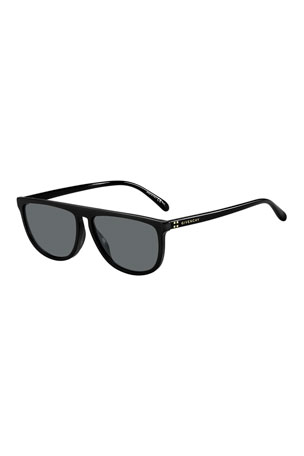 Givenchy Men's Solid Acetate Flat-Top Sunglasses