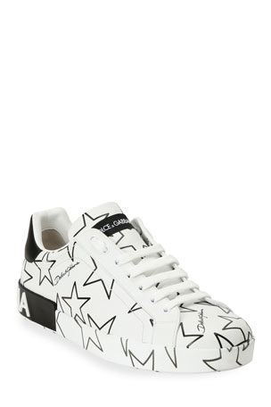 Dolce & Gabbana Men's Millennials Star Portofino Two-Tone Graphic Sneakers