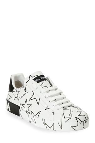 Dolce & Gabbana Men's Millennials Star Portofino Two-Tone Graphic Sneakers