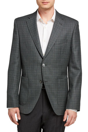 BOSS Men's Micro-Plaid Two-Button Jacket