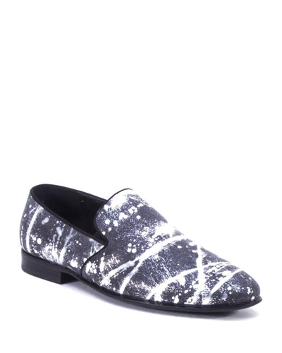 Men's Peter Metallic Paint-Splatter Leather Loafers