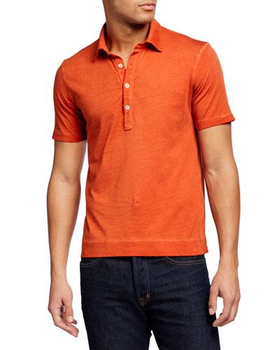 Men's Garment-Washed Cotton Polo Shirt
