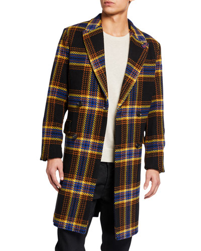 Men's Double-Breasted Houndstooth Plaid Topcoat
