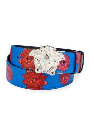 Versace Men's Reversible Medusa Head Leather Belt