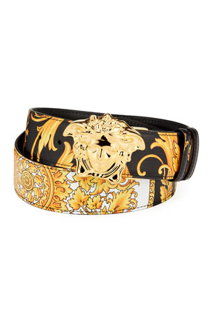 Versace Men's Reversible Barocco Medusa Leather Belt