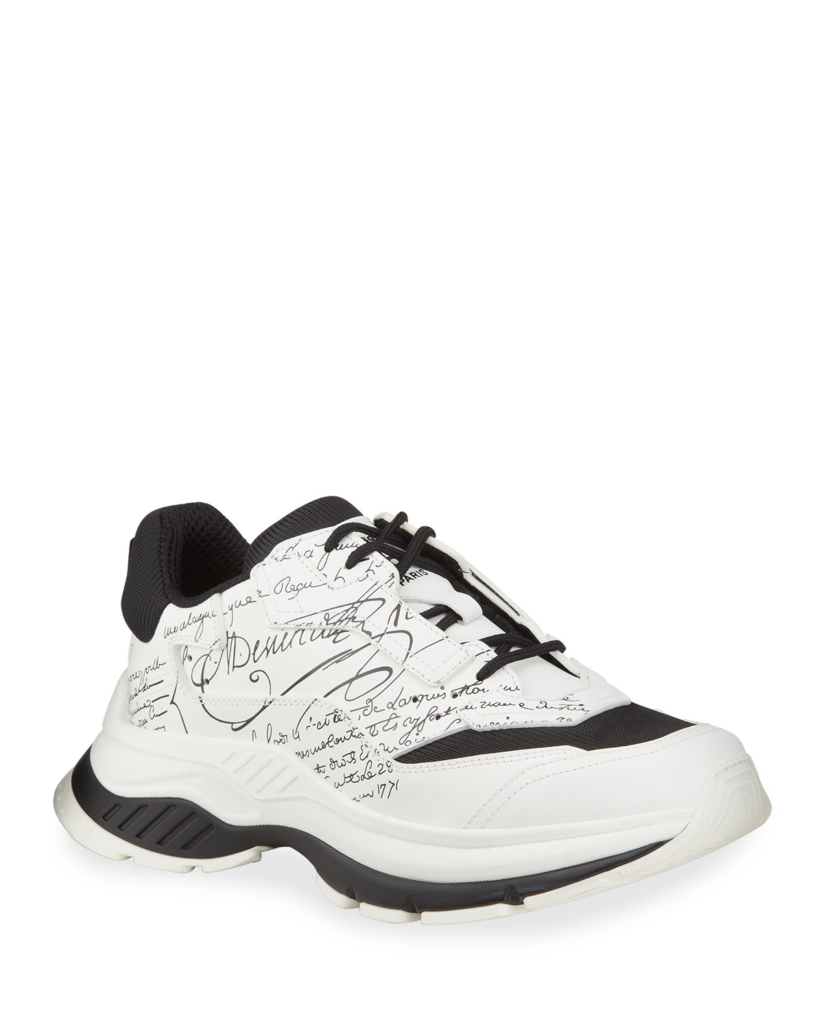 Chunky Script-Print Leather Sneakers