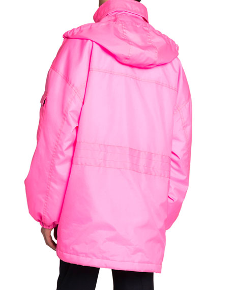 Balenciaga Men's Asymmetric-Hem Neon Puffer Coat