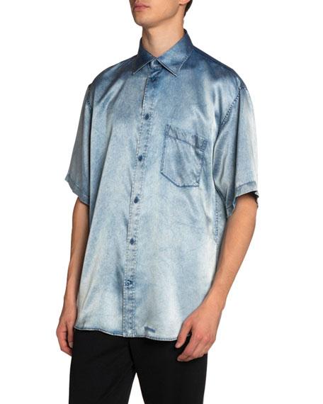 Balenciaga Men's Oversized Denim-Print Satin Sport Shirt